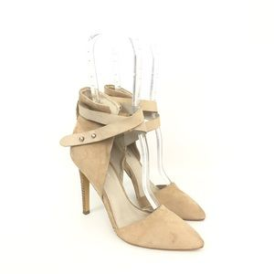 Joes Sz 5 Suede Laney Nude Ankle Strap Pumps Heels